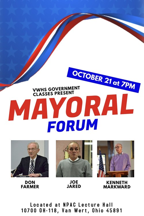 VWHS Government Students Present Mayoral Candidate Forum poster