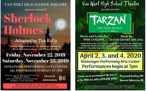 VWHS Theatre 2019-2020 Show Posters for Sherlock Holmes and Tarzan