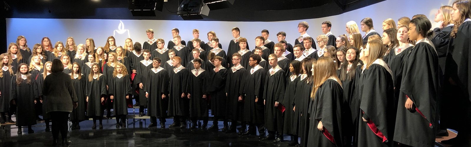 High school choir performing at TV-44