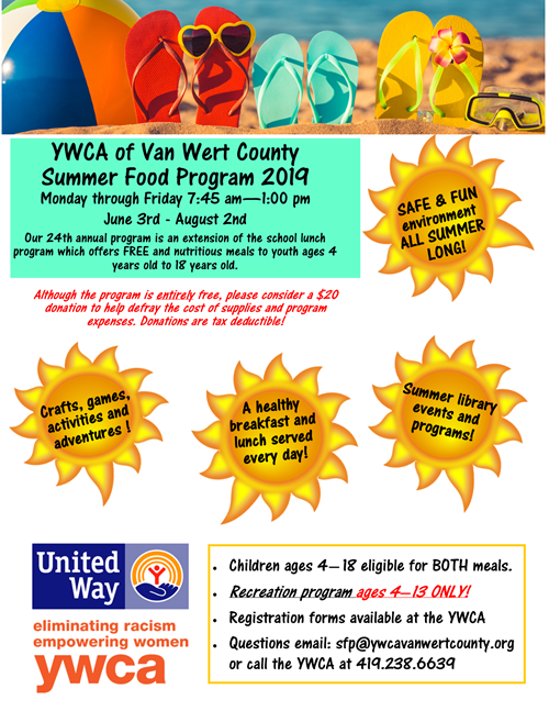 YWCA Summer Food Program flier